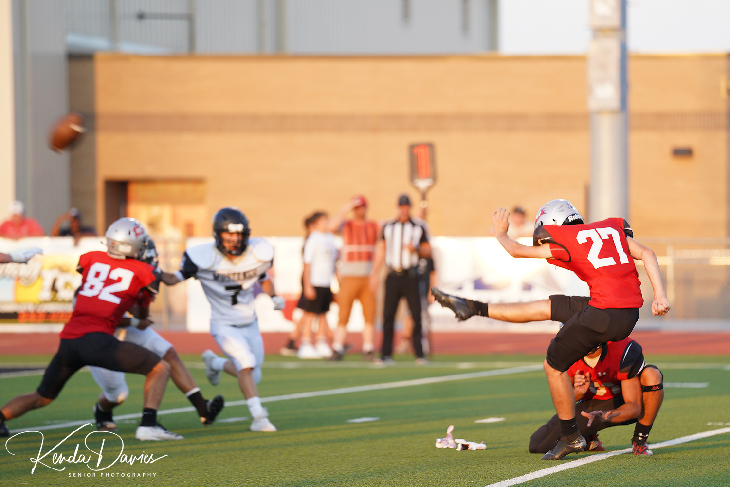 Senior kicker, Brock Thompson puts a PAT on the board late in the second half.