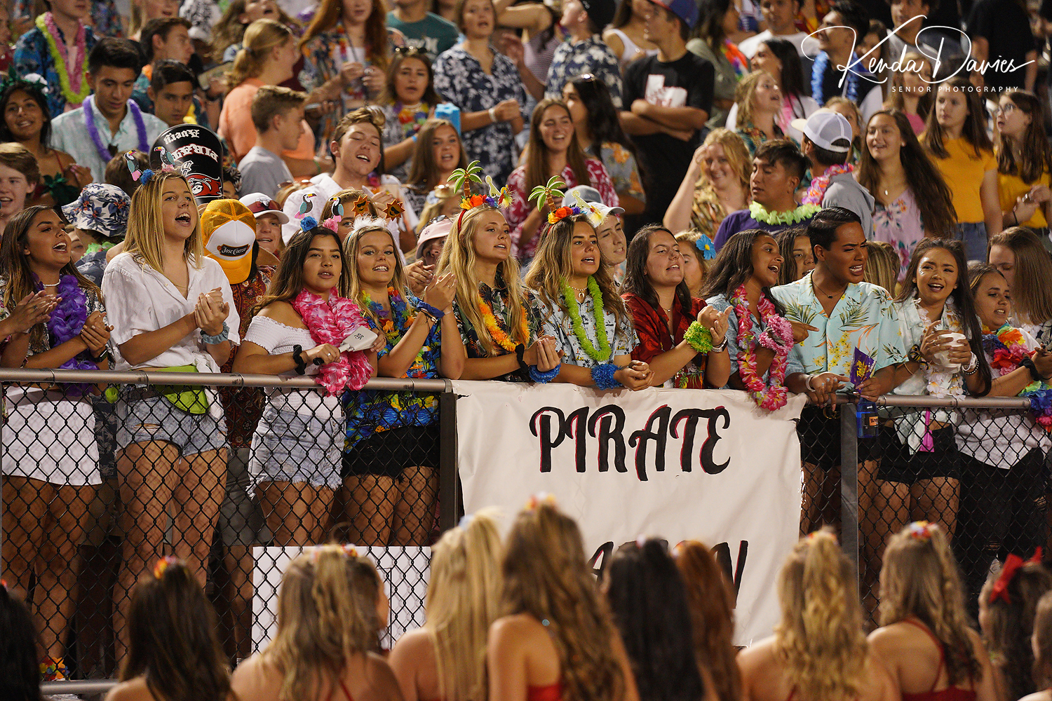 Every single year, the seniors line the fence to cheer on the Pirates. Their themes are the best in FNL!!