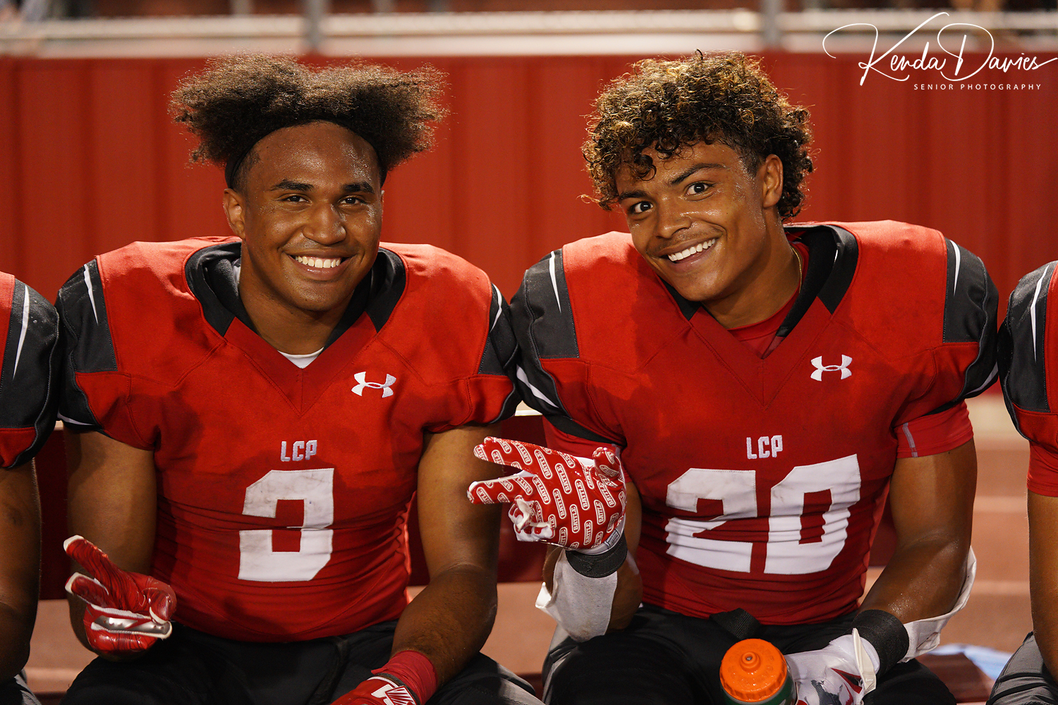 These two running backs are all smiles after contributing in a big way to a 45-20 win over the Andrews Mustangs.