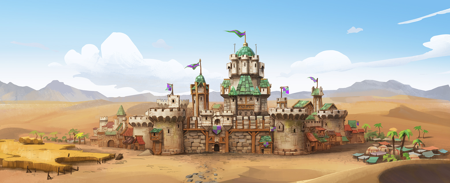 This castle was designed by talented Santiago Montiel, and roughly painted by me.
