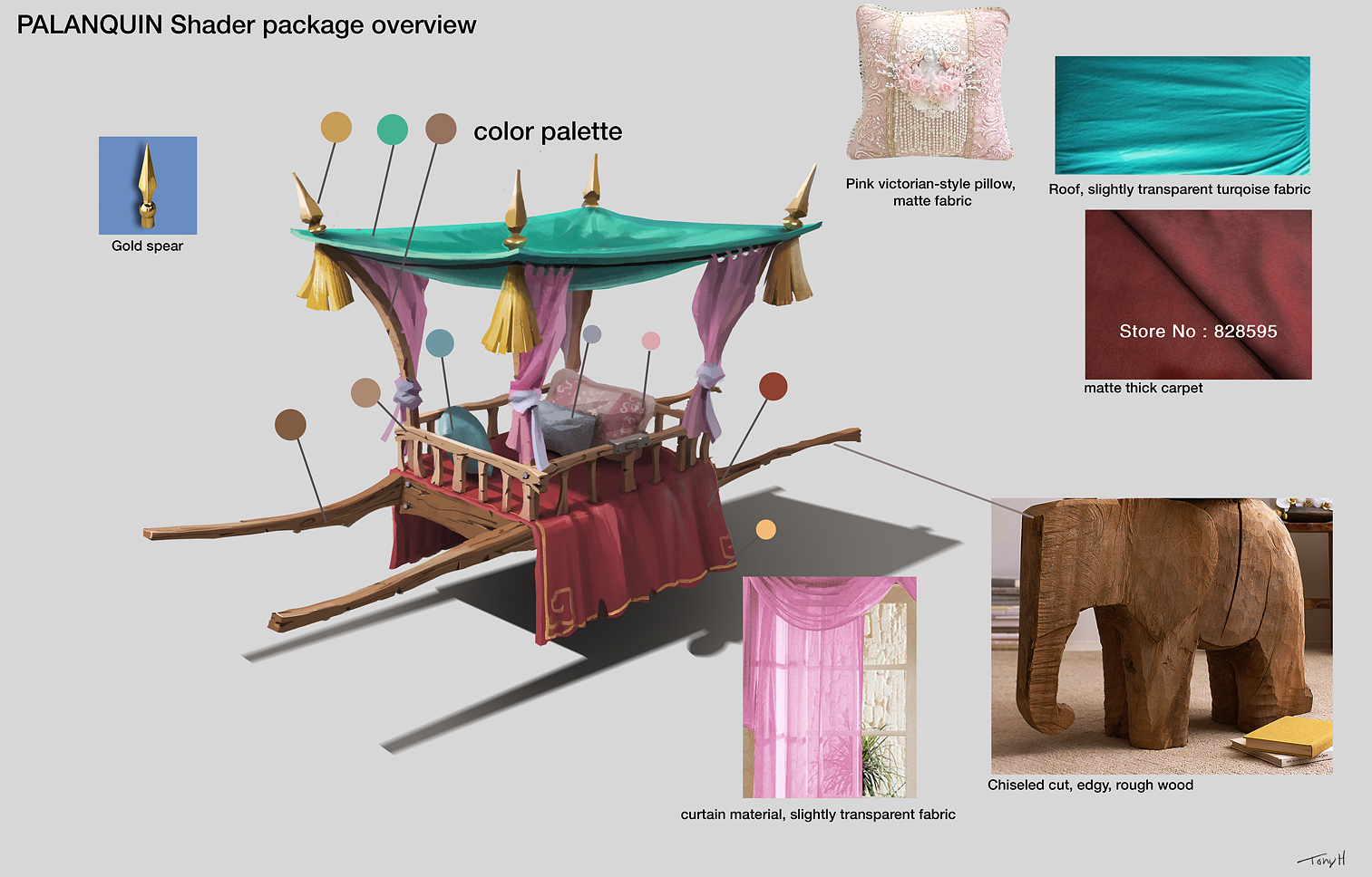 And a final concept of the palanquin that I painted, together with a shader package.