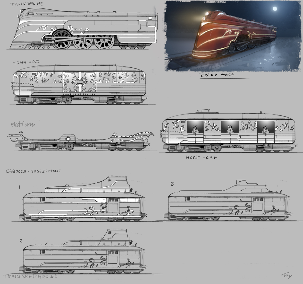 Here is what we finally settled for, together with some caboose and empty platform sections.