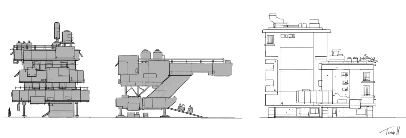 some sketches to help me figure out the design language for the buildings.