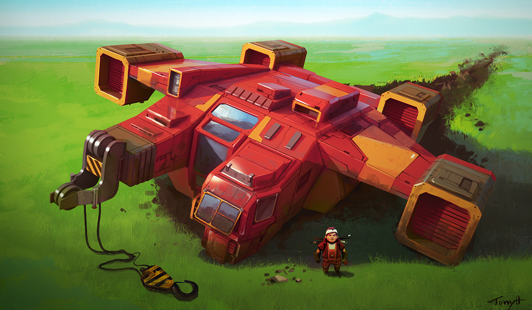 Concept and illustration of the spaceship that the player arrives in.
