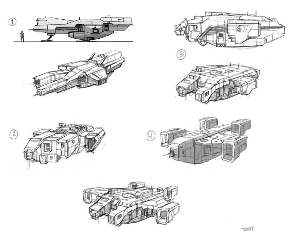 Early rough sketches for the spaceship.