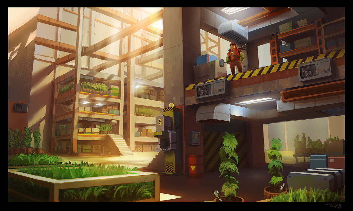 A concept showing how the insides of the warehouses could look like.