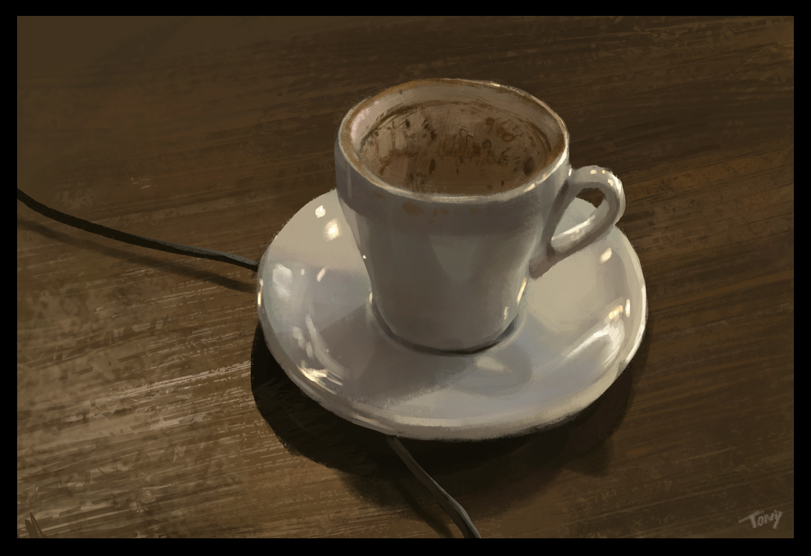 1 hour cafe painting of my coffee cup.