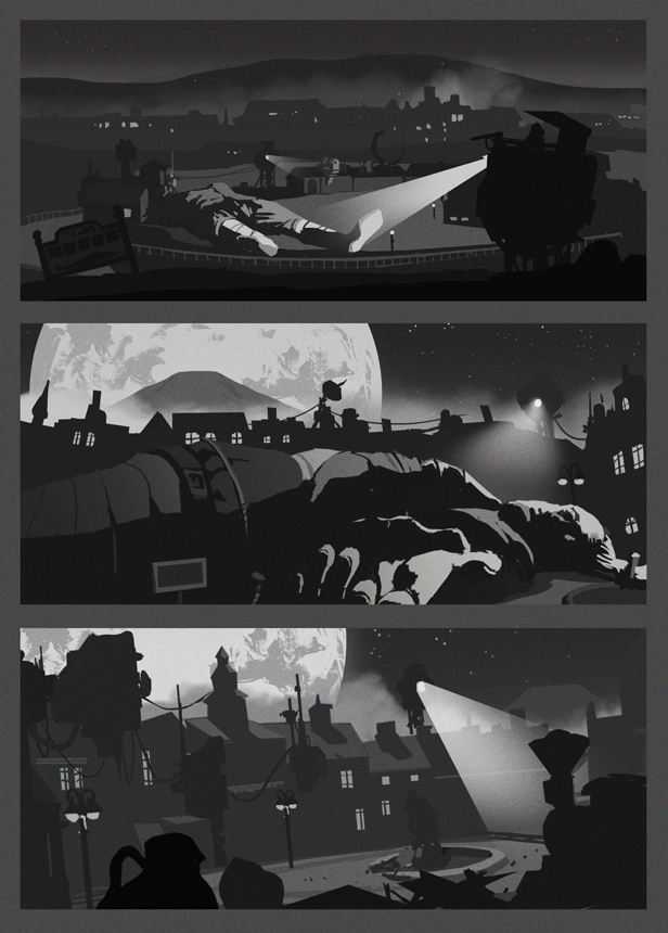 Some composition sketches made before painting the Gulliver stage.