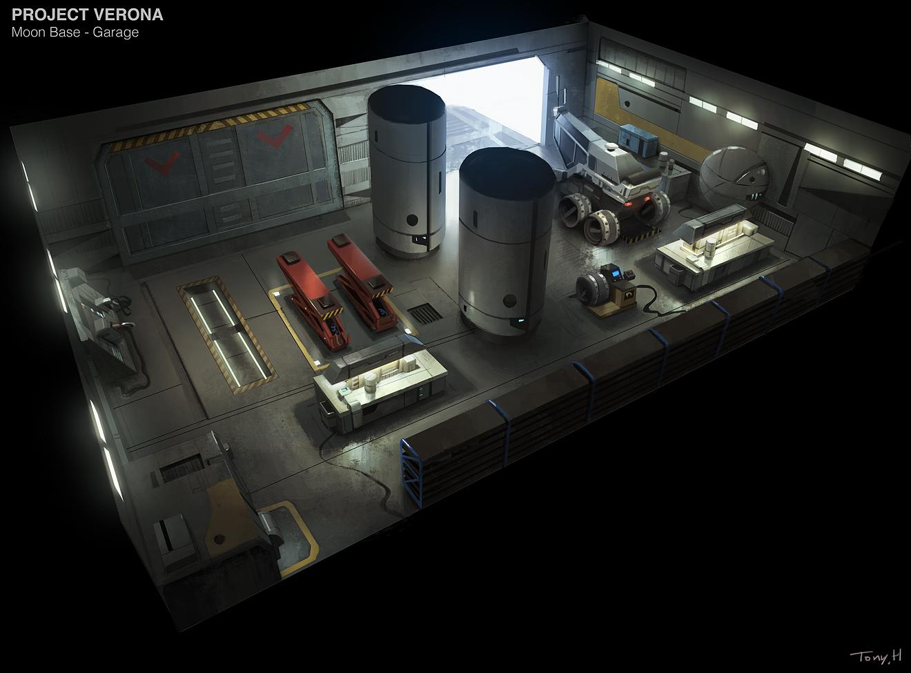 Moon base - hangar. Modo & Photoshop.