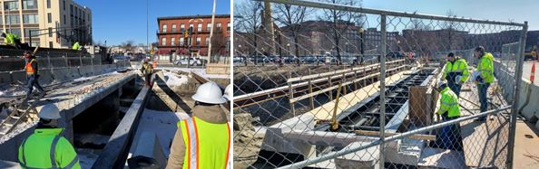 Installation of a new sidewalk bridge and inspection by City engineers.