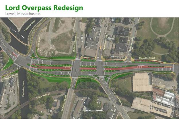 Concept for Lord Overpass project. Thorndike Street will remain open for two-way traffic through the entire project, but have several lanes closed.
