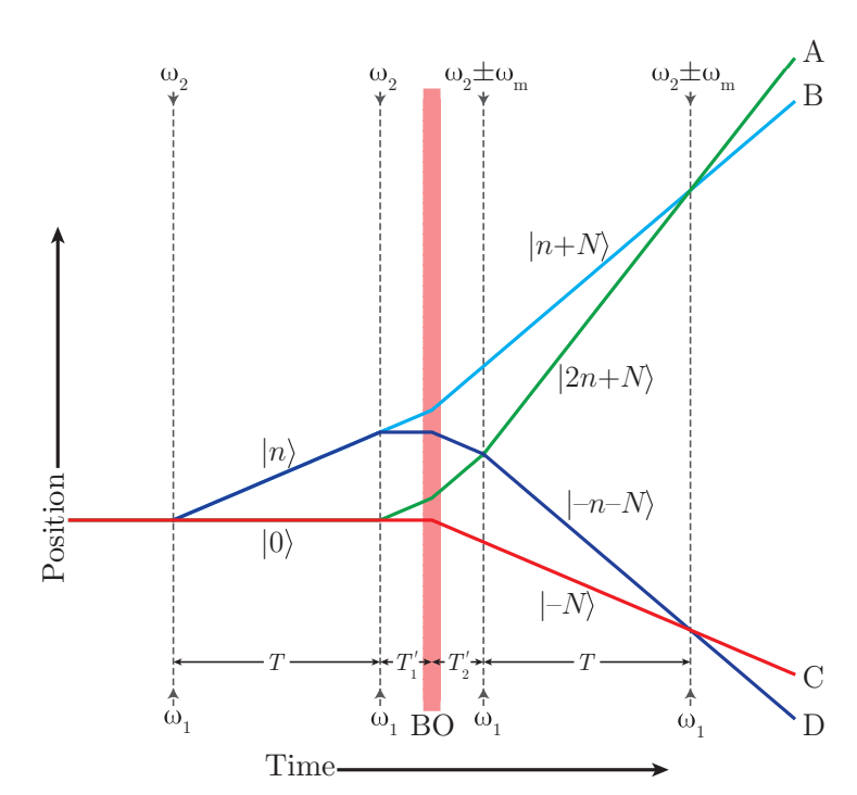 Simultaneous-Conjugate Atom Interferometer - The solid lines denote the atoms' trajectories, dashed lines indicate Bragg diffraction laser pulses, and the shaded region labeled BO represents Bloch oscillation pulses. |n〉 denotes a momentum eigenstate with momentum 2nℏk, where k is the laser wave number. In this figure gravity is neglected.