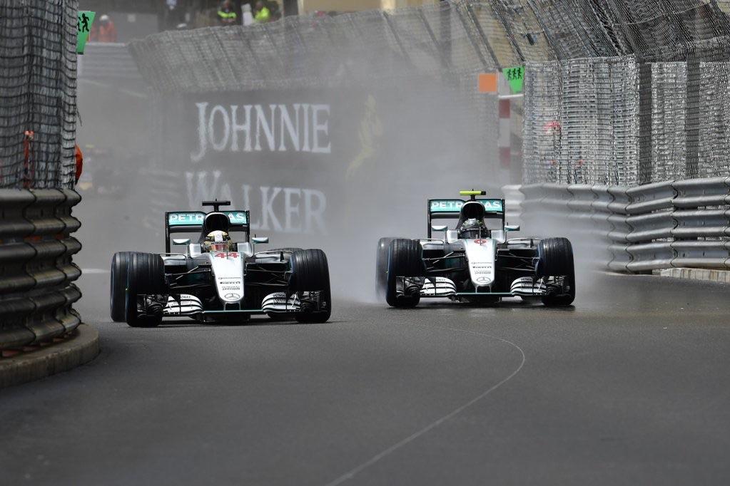 Team mates: Lewis Hamilton & Nico Rosberg mid-race.