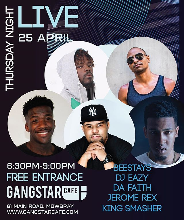 Join us this Thursday! Music and Beats, performed by some of Cape Towns top musicians and dj's. Entrance is free! @gangstar_cafe_sa will be serving their full menu.