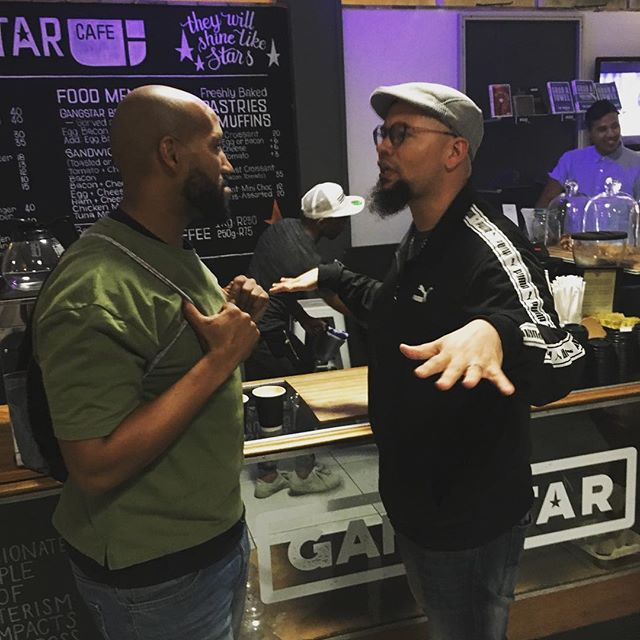 @hemelbesem_ getting his @gangstar_cafe_sa coffee at #thursdaynightlive