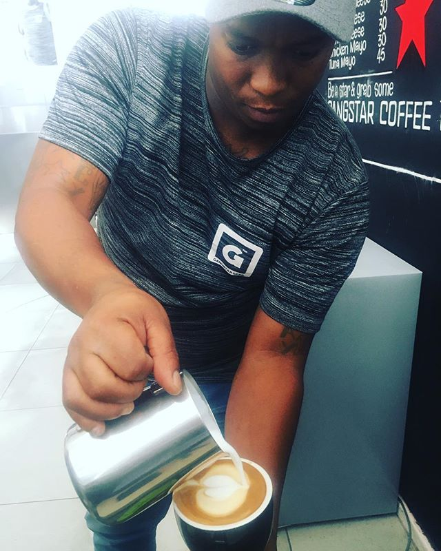 Clint pouring a perfect end of day coffee! Come past tomorrow for your amazing Gangstar Coffee! #gang2star