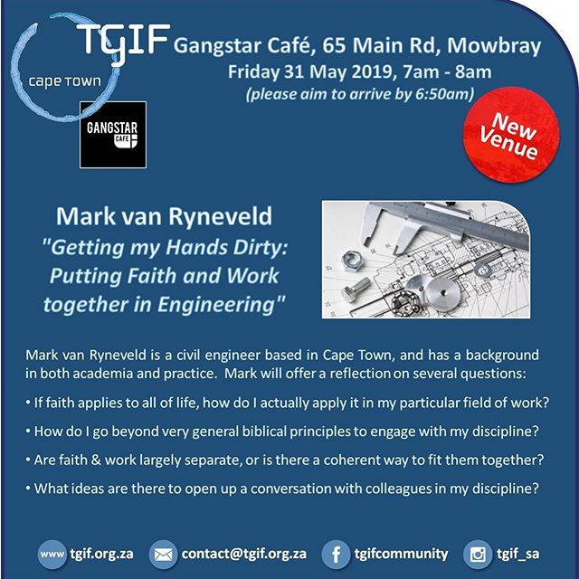 Gangstar Cafe is hosting TGIF this friday! This exciting forum is an opportunity to be challenged by different speakers on their opinions and perspectives. These events take place nationally and are open to anyone who might be interested! @tgif_sa