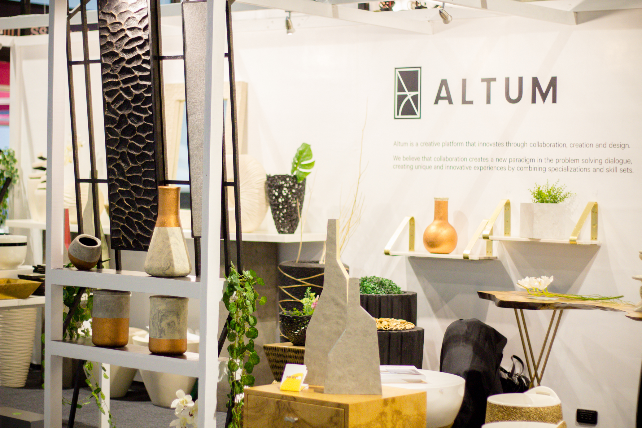 COLLECTED.  The ALTUM booth, located at the center of the action at Hall 4, boasts a wide range of styles and materials with pieces designed with intricacy and passion from their own collections to collaborations.