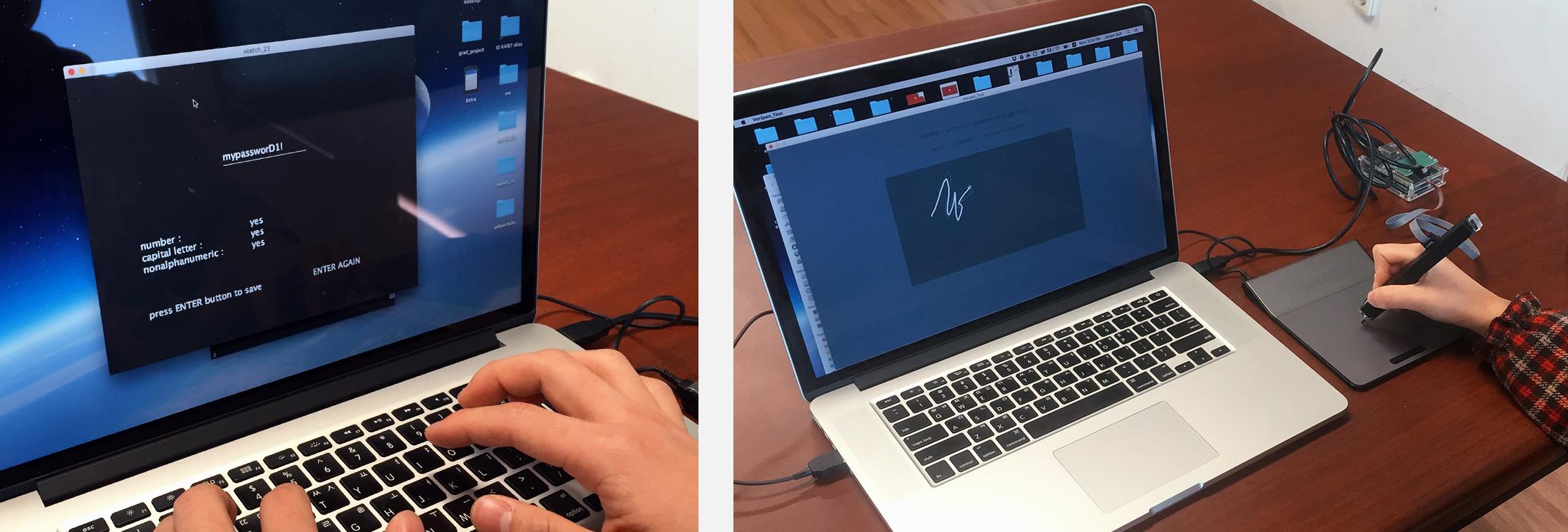 User simulating of regular password generation (left), user testing Veri-pen demo program (right)