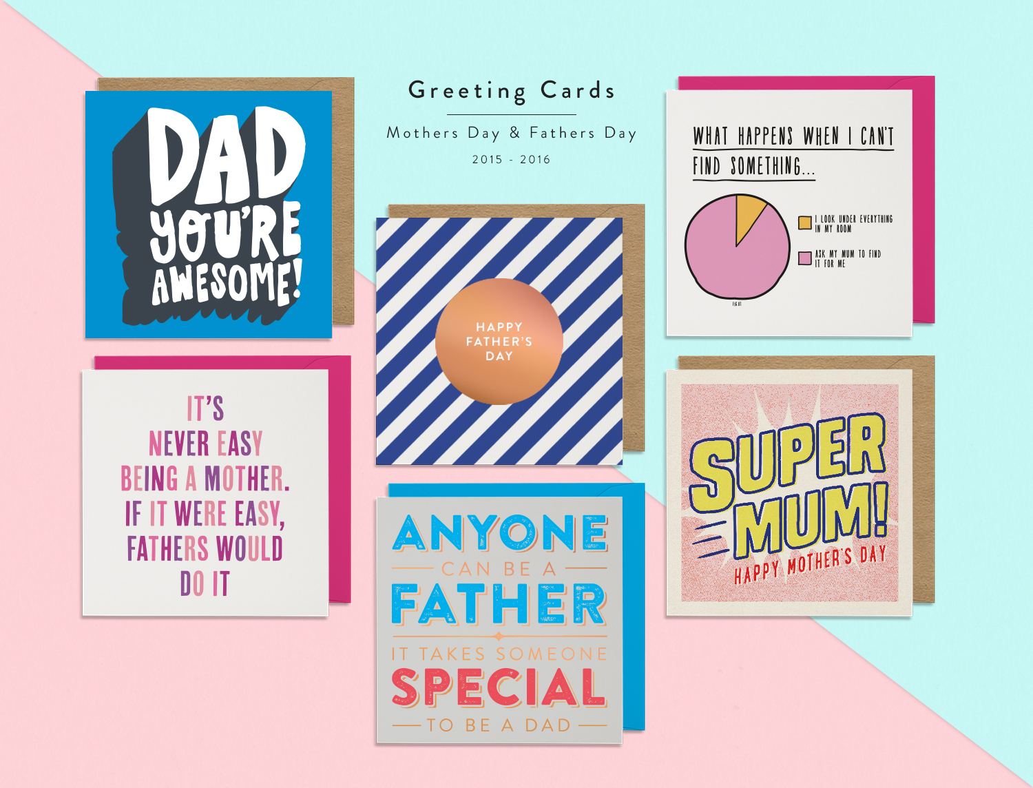 Greeting Cards /Small Selection of some of my most successful typography based designs for Mothers Day and Fathers Day