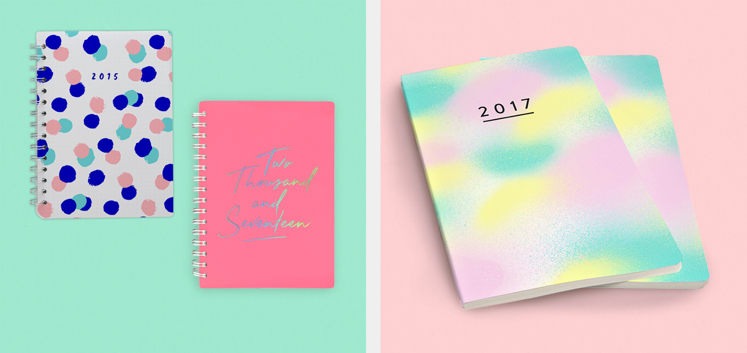 Diaries &Notebooks / Wiro bound and perfect bound featuring iridescent foil.