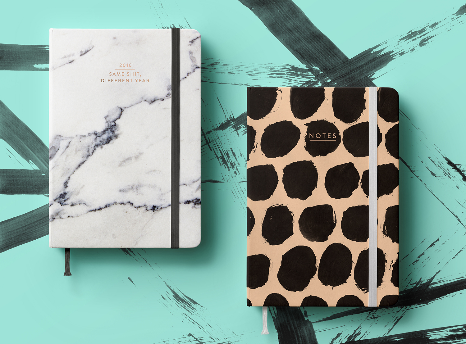 Diary & Notebook / Hand painted pattern litho printed and p  erfect b  ound with c  opper f  oil blocked  t  ype   / 2016