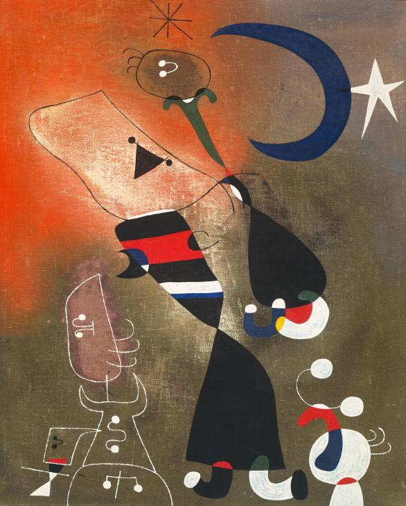 Joan Miró   Women and Bird in the Moonlight   1949.  http://www.tate.org.uk/
