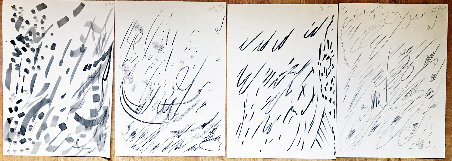 Figure 2: Joy. Materials used from left to right: ink, charcoal stick, charcoal vine, pencil.