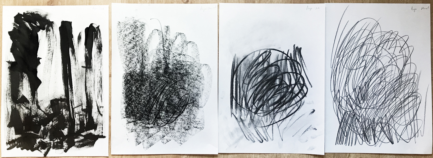 Figure 3: Anger. Materials used from left to right: ink, charcoal stick, charcoal vine, pencil.