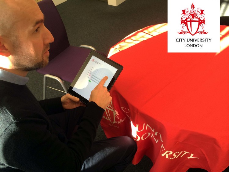 Martin at City University London using DH Mobile on a branded form at an international event