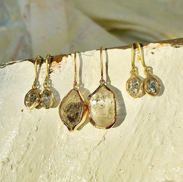 Mummy and baby Herkimer earrings, ready for Sunday!... #Adelphe #adelphelondon #adelphejewellery #herkimerdiamond #herkimerquartz #herkimerearrings #phillipahastings #edenhastings #handmadejewellery #londonjeweller #mothersday