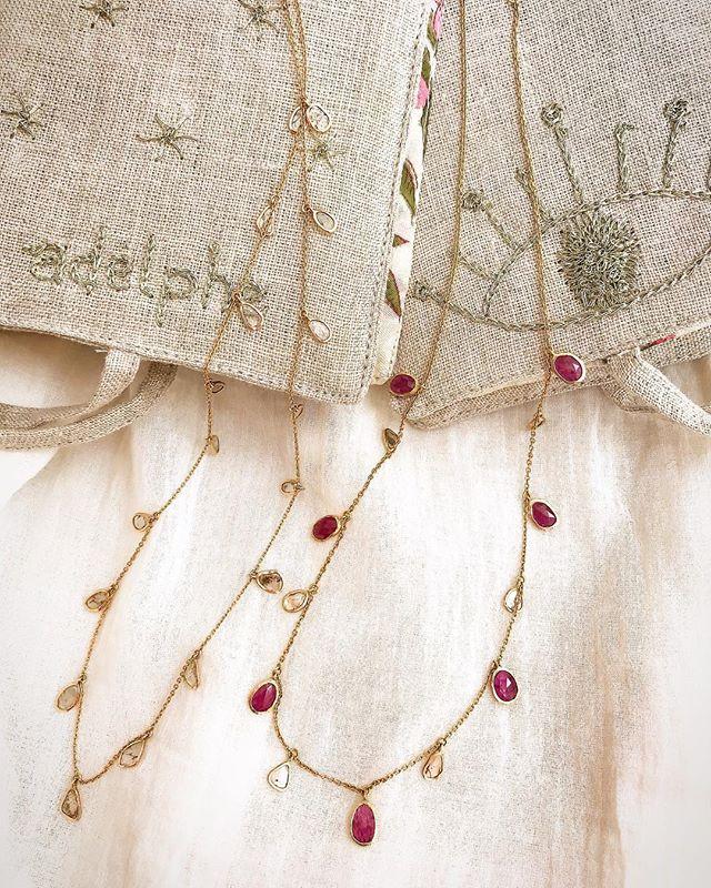 ❤️Rubies with diamond slices ❤️ - - - - - - - #adelphejewellery #adelphe #uniquejewellery #individualpieces #ethicaljewellery #diamondslices #rubynecklace #phillipahastingsjewellery #edenhastings #bespokejewellery #handmadejewellery #artisanmadejewelry #18ctgold