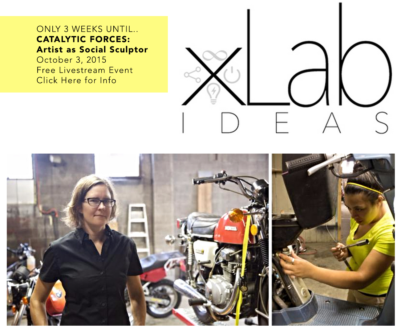 Left: Artist and motorcycle mechanic Sarah Lyon. Right: Workshop participant Cheyenne Orobia. Photos by Josh Miller.