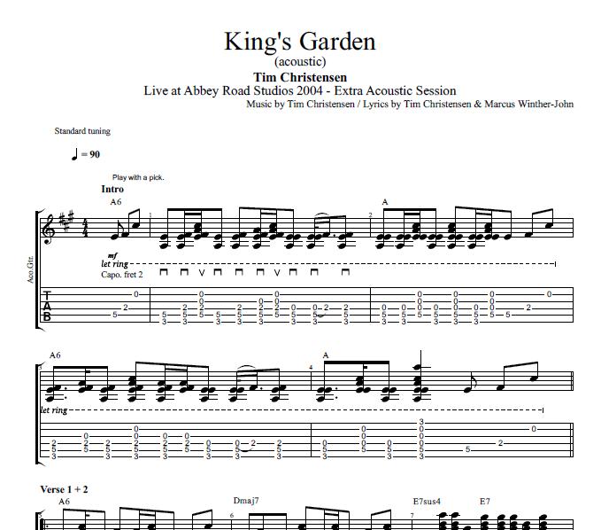 King S Garden Acoustic Tim Christensen Guitar Bass Mellotron Tabs Chords Sheet Music Lyrics Play Like The Greats Com