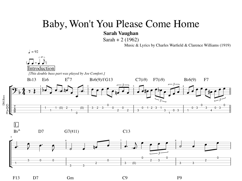 Baby Won T You Please Come Home Sarah Vaughan Guitar Bass Tabs Sheet Music Chords Score Lyrics Play Like The Greats Com