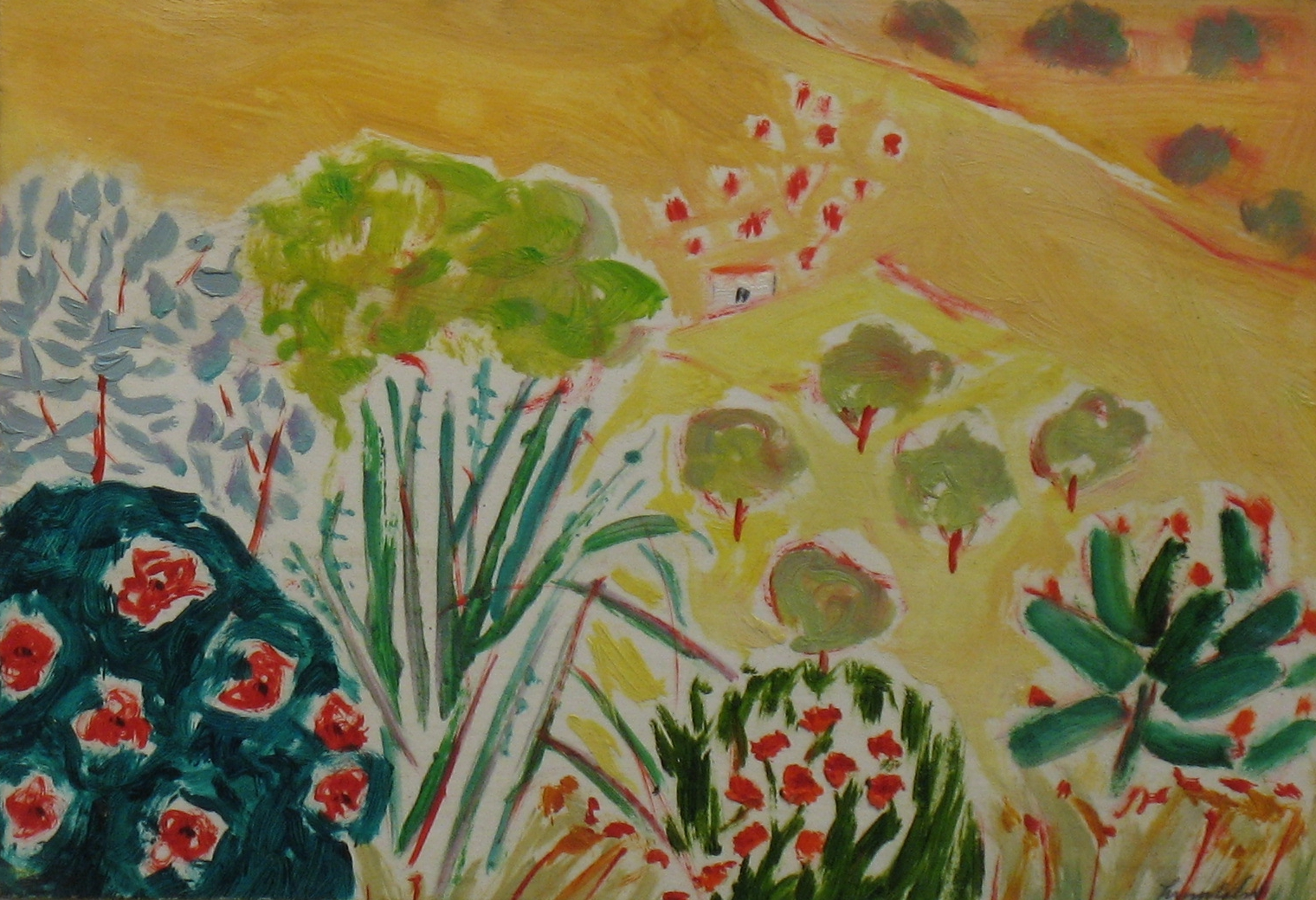 15.Corneer of the Garden oil on paper,board  (7x12)ins.jpg