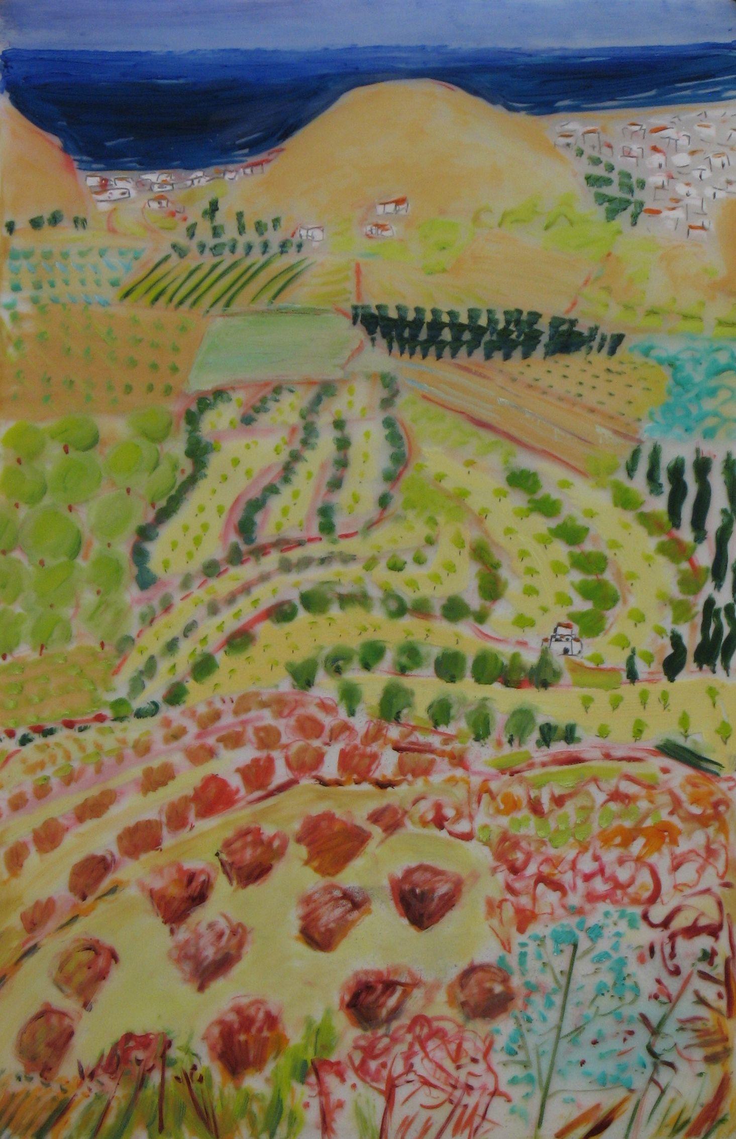 Lexan Rows of olives mixed media on Lexan (28x36)ins.jpg