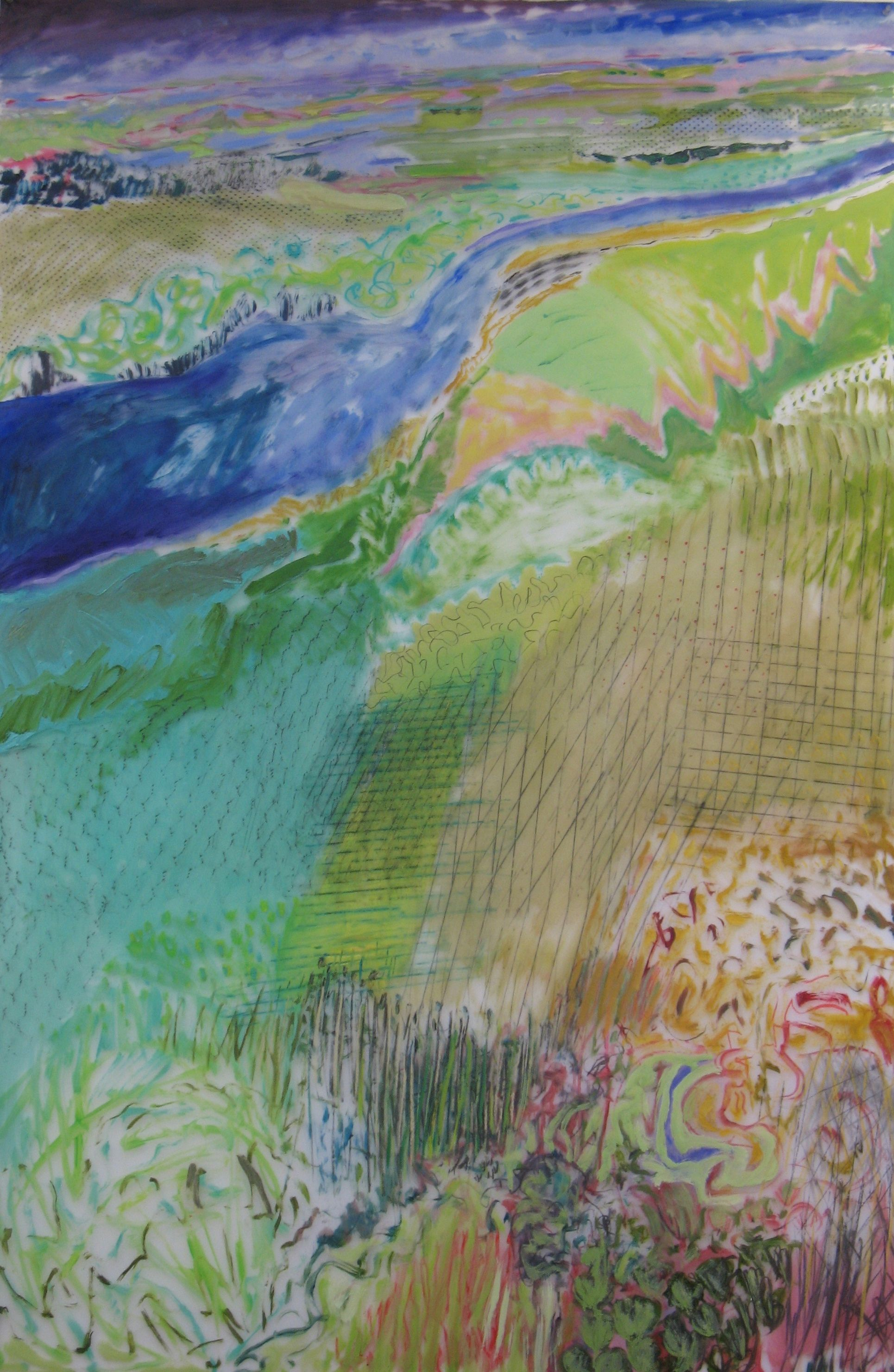 Lexan Water Surrounded, oil & mixed media on Lexan (48 x 72)in.jpg
