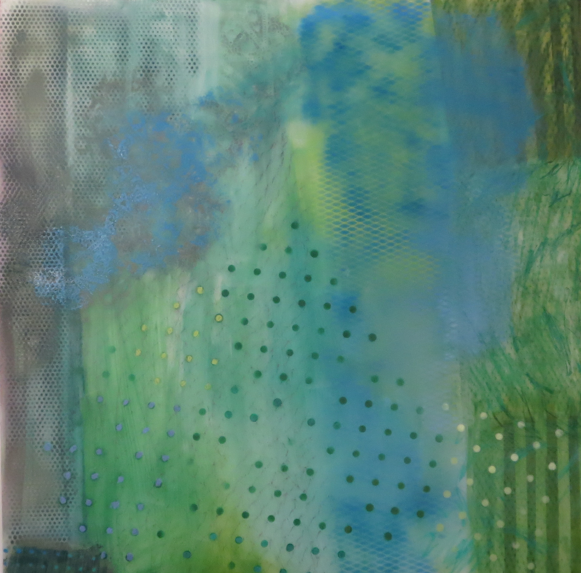 11. Earth Scape in Greened grids oil mixed media on lexan 48 x 48 inches.jpg