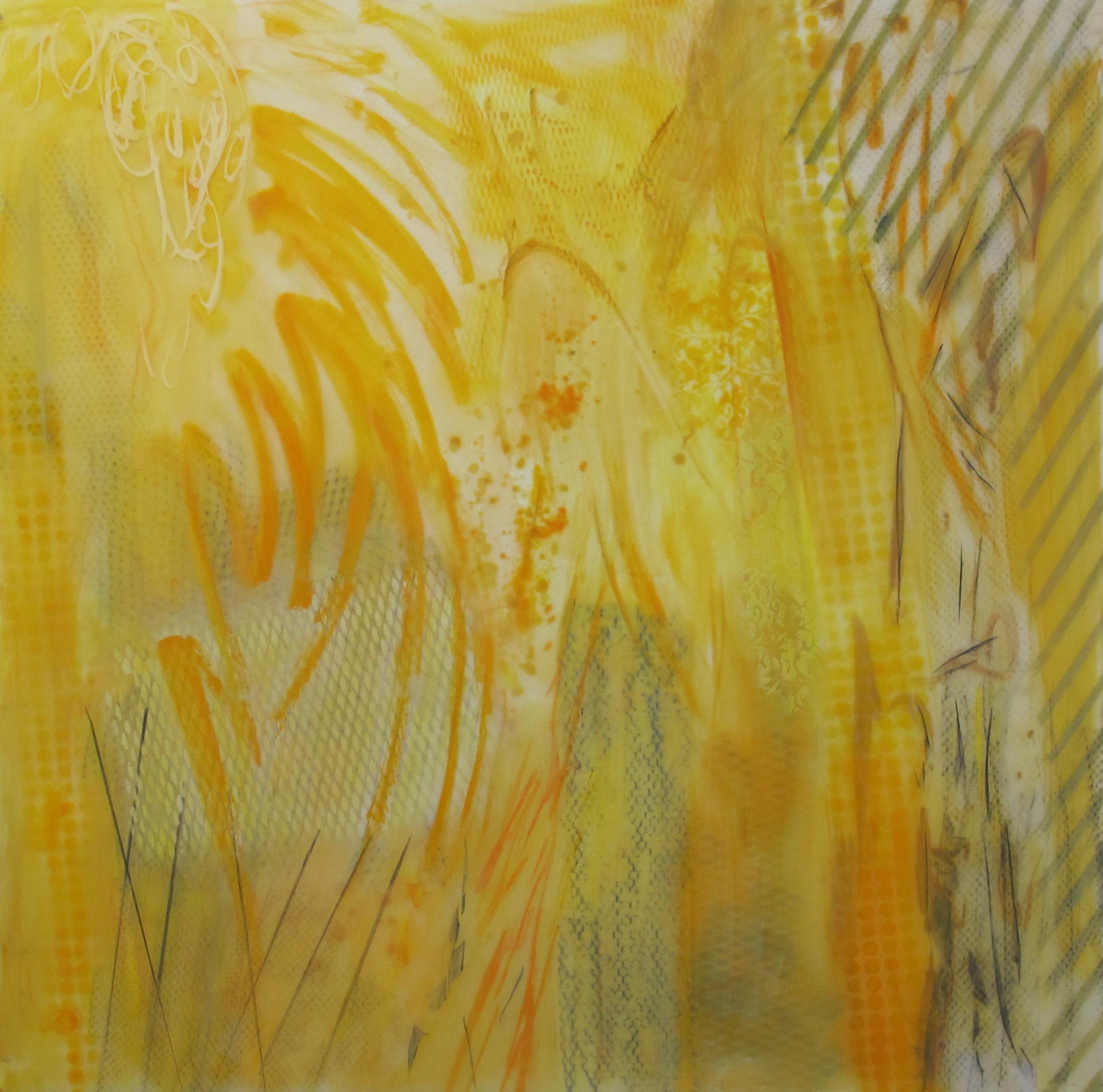22. Earth Scape 18 Yellow Arranged  oil graphite pastel spray on lexanon plexi 48 x 48 inches.jpg