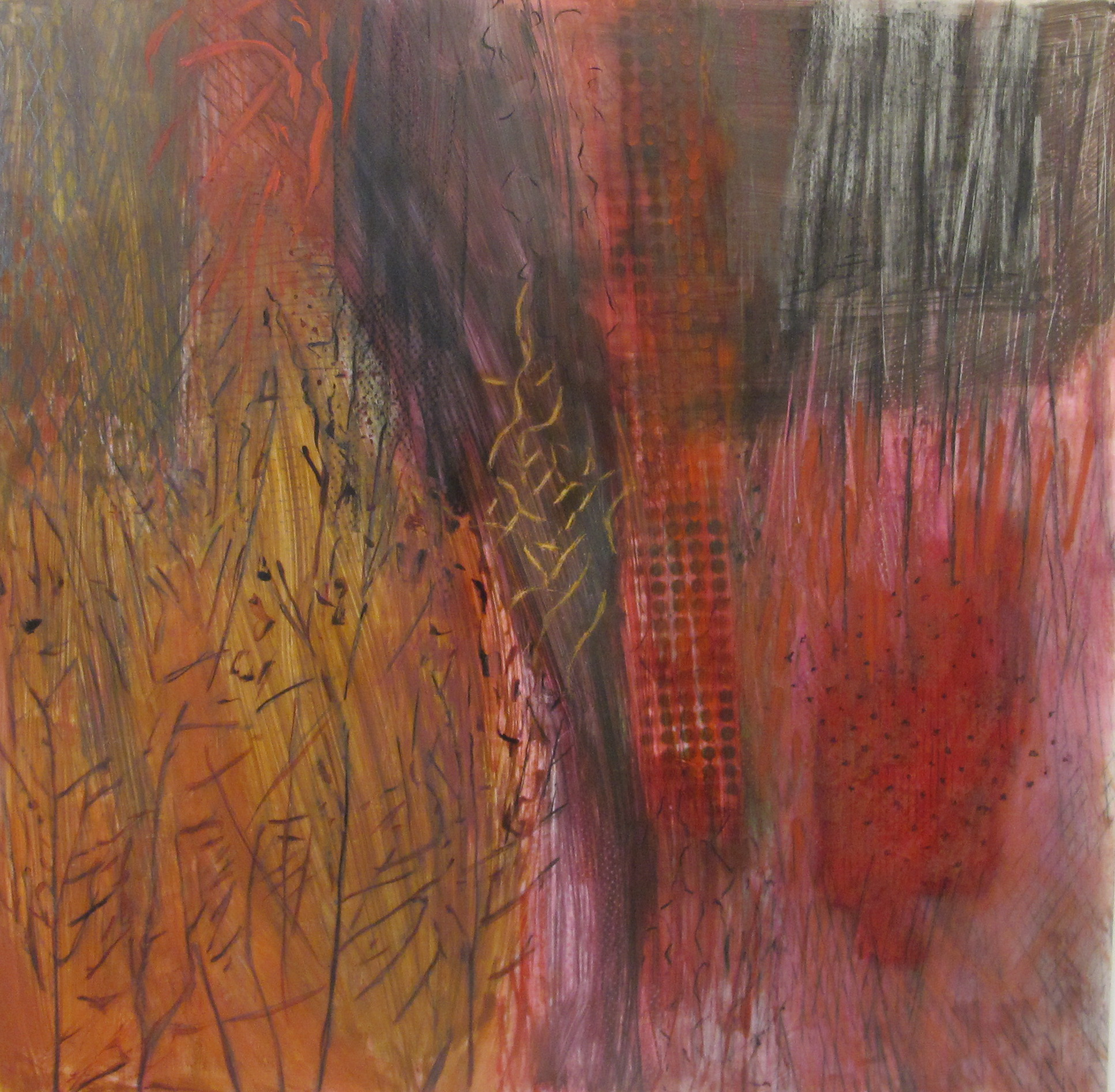 28. Earth Scape Fall Forest oil graphite pastel spray on lexan 48 x 48 inches.jpg