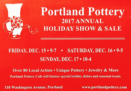 Join us this weekend for The Portland Pottery Annual Holiday Show & Sale.  Friday 9-7, Saturday 10-5, Sunday 11-4. #holidaysale #portlandpottery #buylocal