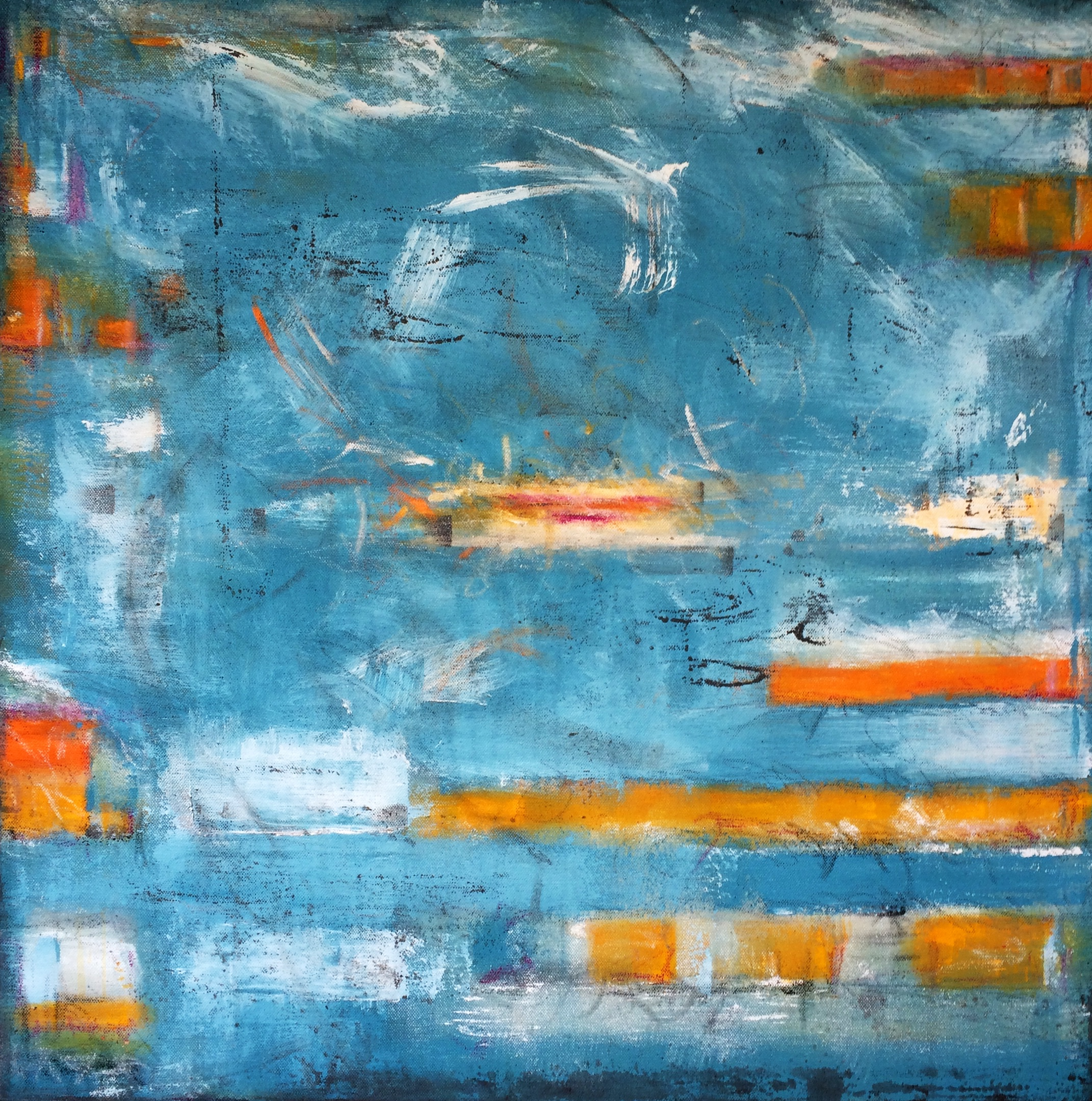 "Mississippi River I, 30x30,"" Acrylic, Pastel, Graphite, Latex"