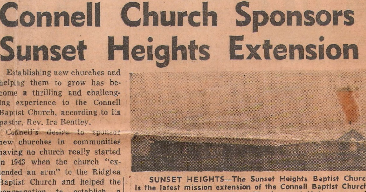 Newspaper clipping about Connell Baptist Church in Fort Worth, TX, planting what would become Hulen Street Church.