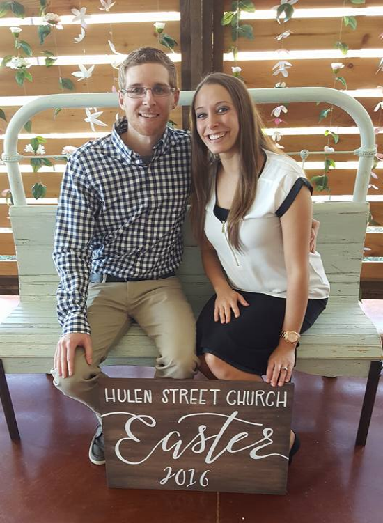 Chris Spear, and his wife Brittany at Easter 2016 at Hulen Street Church