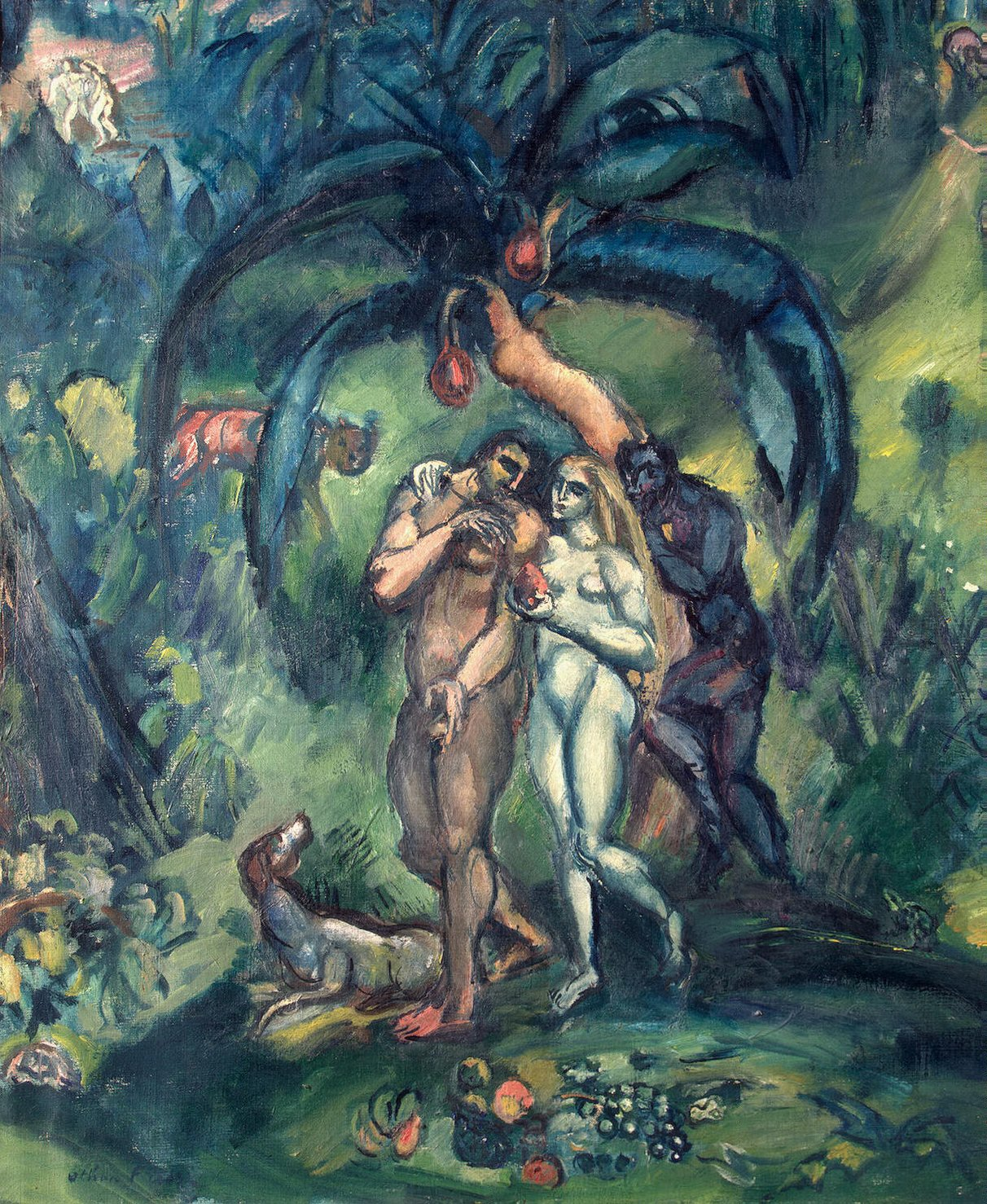 The temptation of Adam and Eve painting