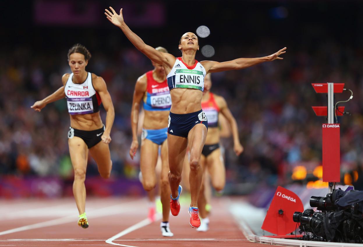 Ennis wins an Olympic race at the 2012 London Olympics