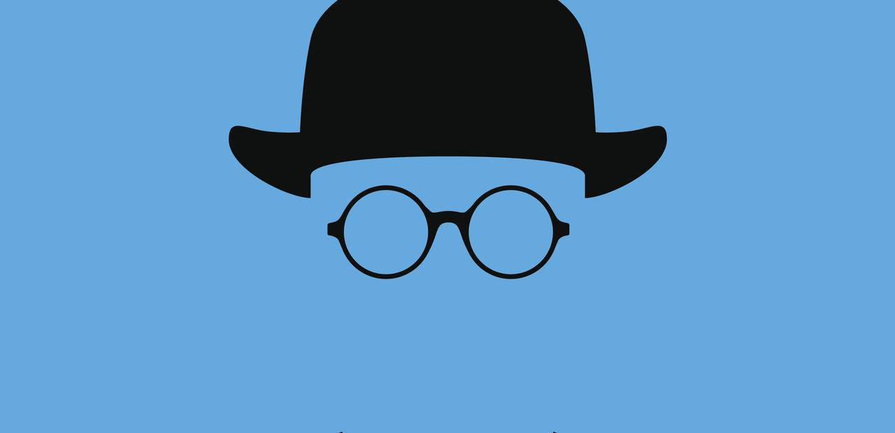 a blue icon of invisibility with hat and glasses only