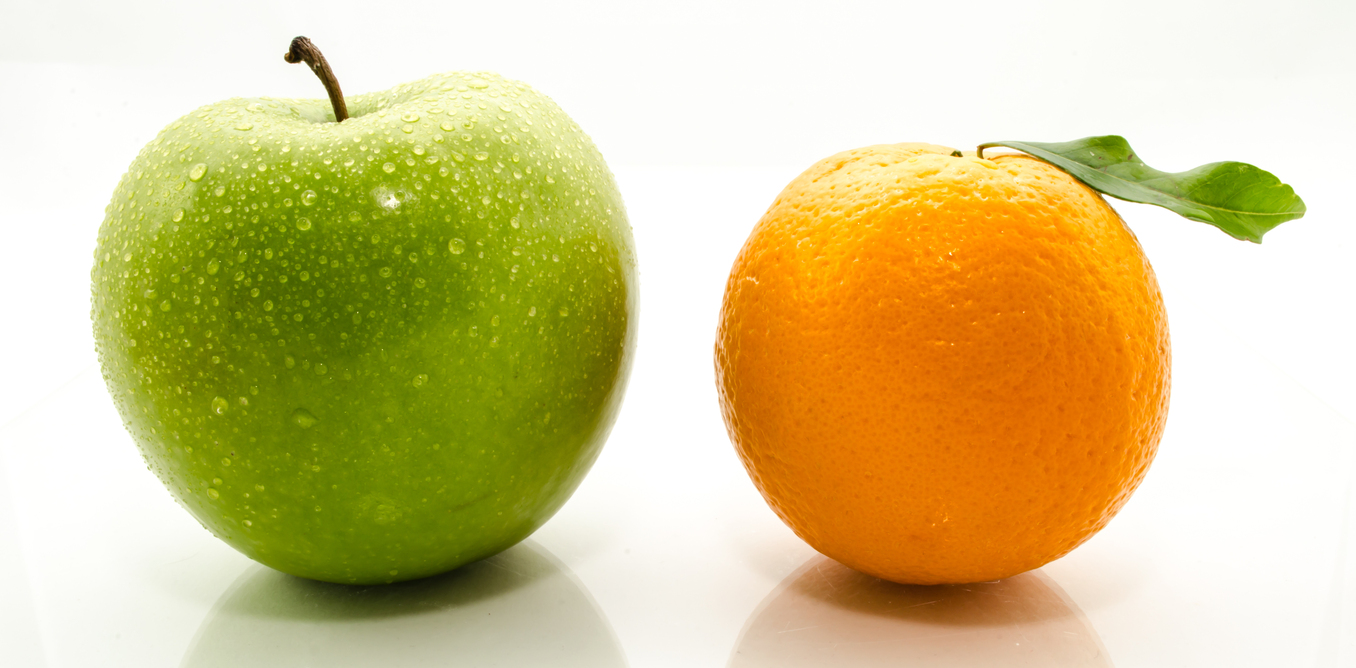 comparison of an apple and orange
