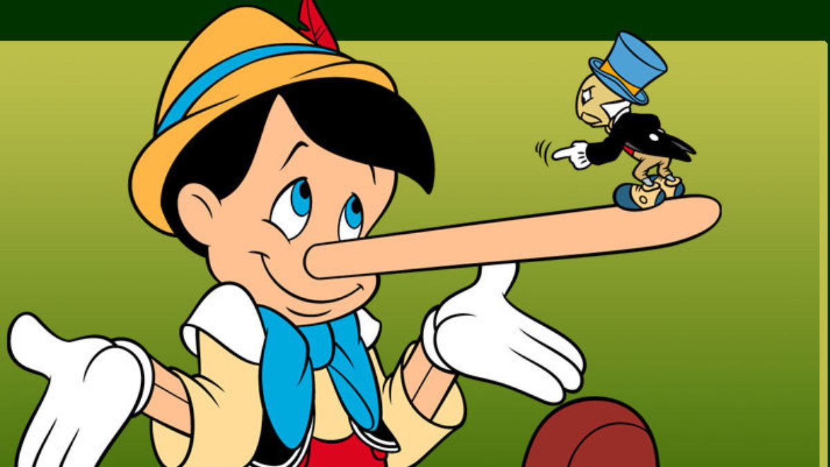 Pinocchio with his nose extended because of lying with Jiminy Cricket shaming him for telling lies.
